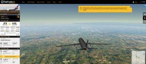 A screenshot of Flight Radar showing a 3D airplane over a field.