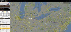 A screenshot of Flight Radar showing a flight path.