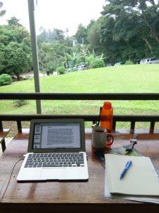 Laptop overlooking garden