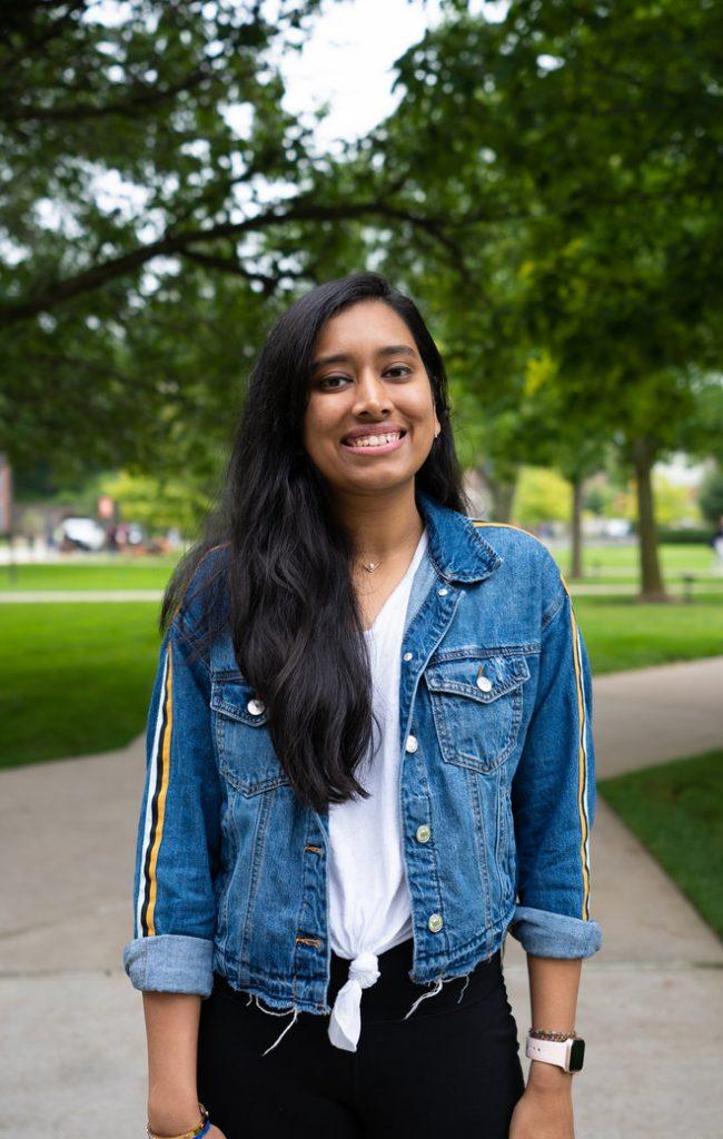 iSchool gradaute student Aishwarya Rai on the Syracuse University quad. Photo by Lucas T. Kosmynka