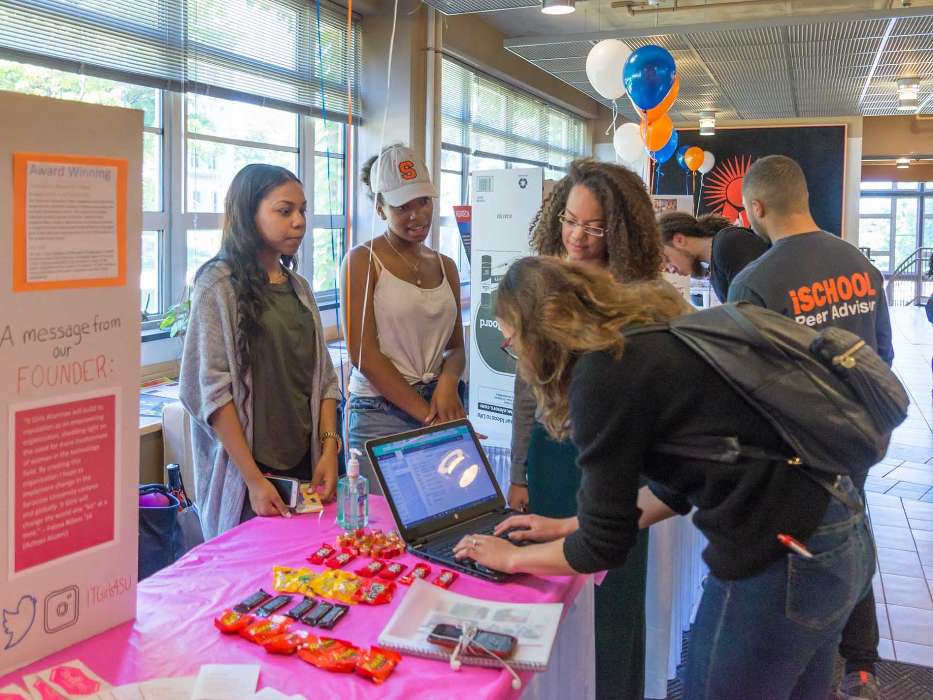 ITGirls table in the iSchool to hand out information