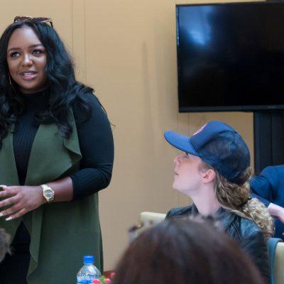 An alumna presents at iPrize 2019.