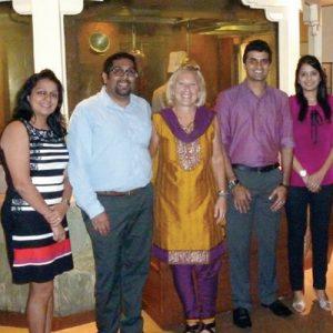 Barbara Settel (center) in Mumbai with iSchool alumni.