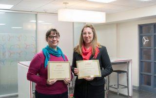 Rachel Clarke and Sayward Schoonmaker with their ASIST awards