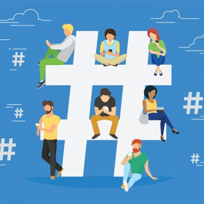 Illustration of people using devices sitting on hashtag mark