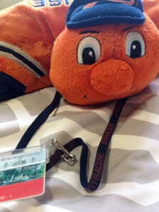 Otto sporting a traditional Syracuse lanyard.
