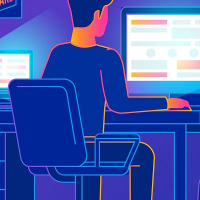 Man working at computer illustration