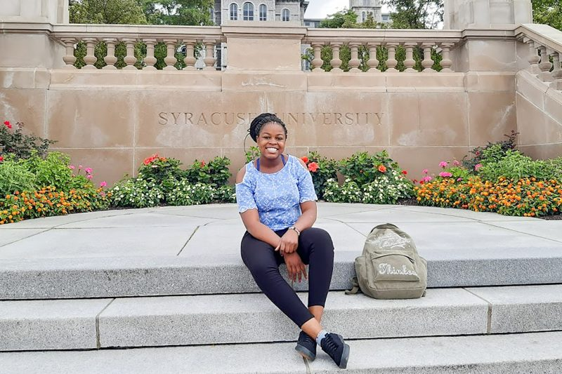 Michelle Osiyah outside Hall of Languages