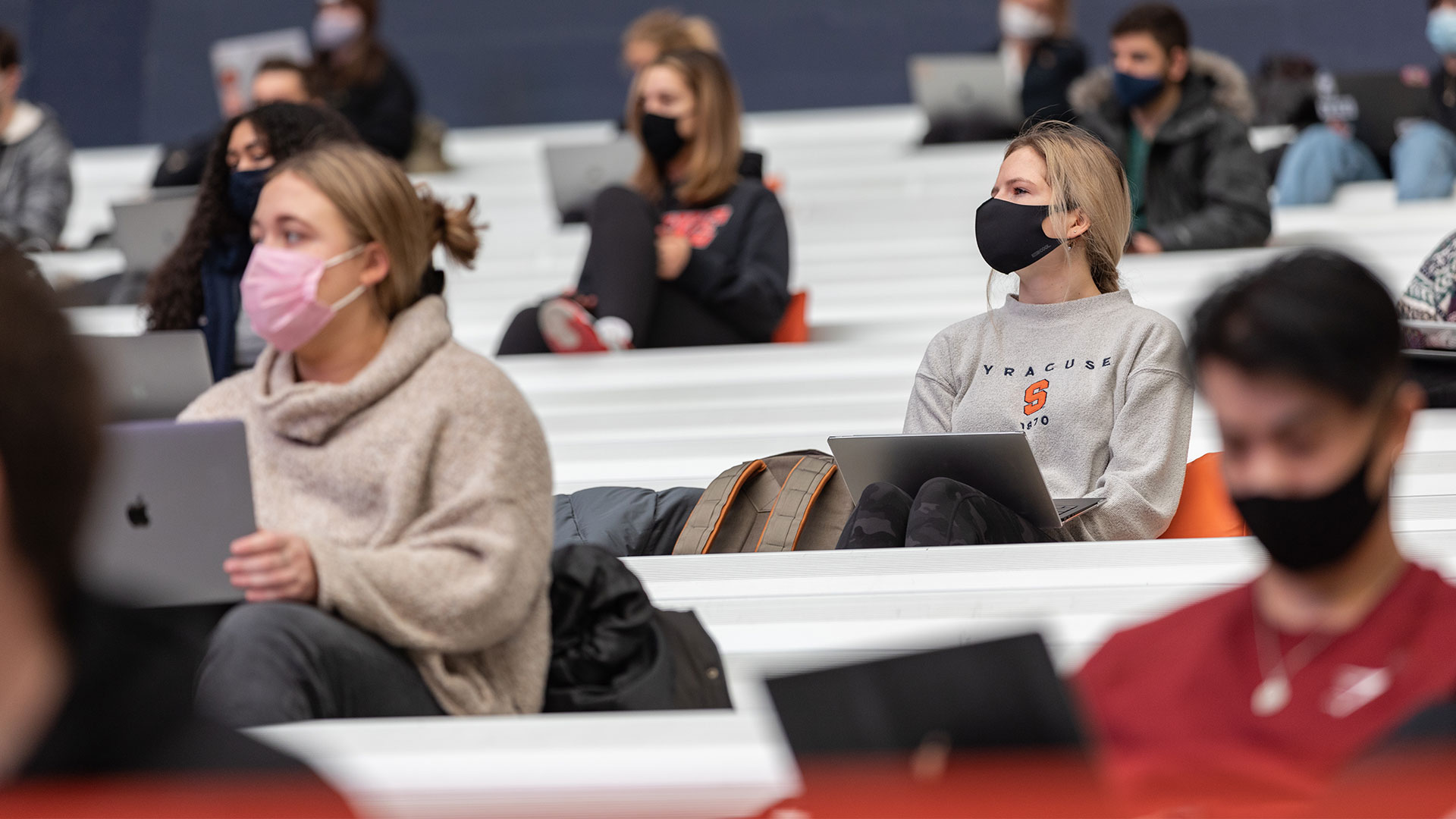 Students wearing masks in classroom
