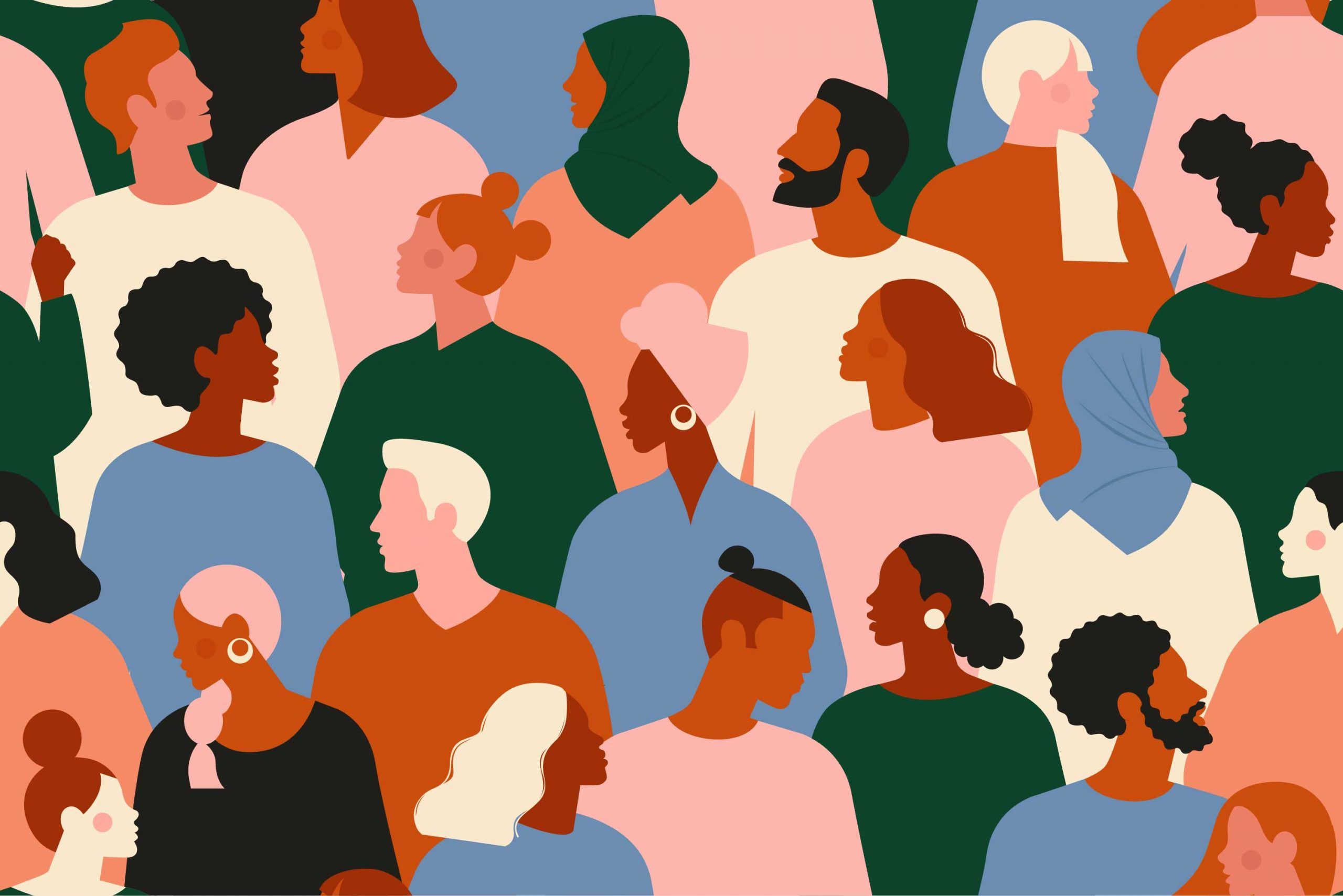 graphic of diverse crowd