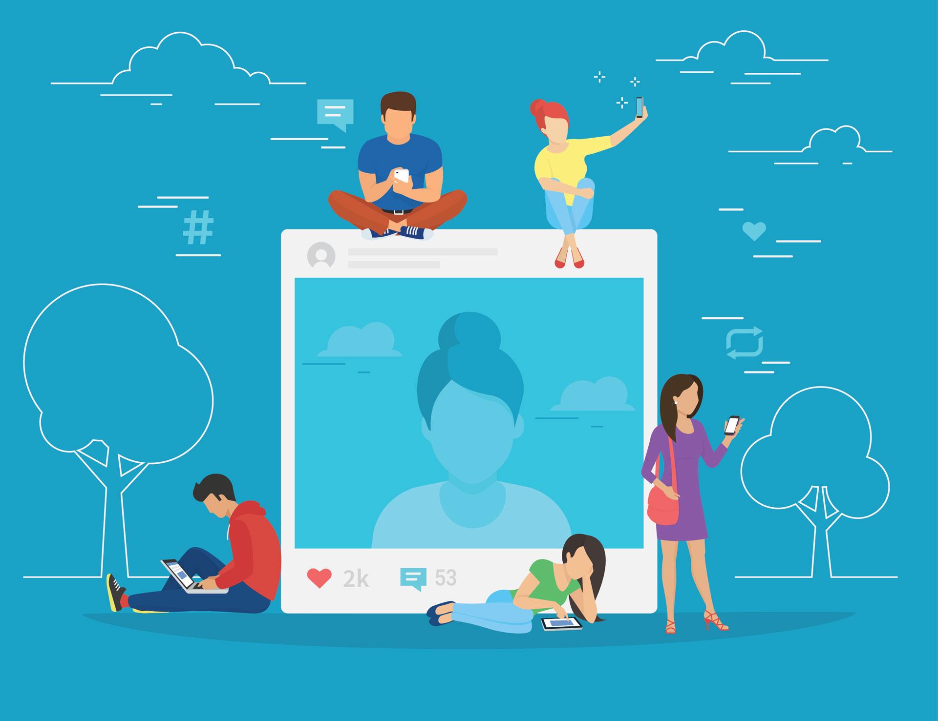 Social media news feed illustration